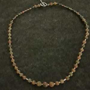"""Jewelry - Unakite with peach seed beads, New 20"""" long,toggle"""